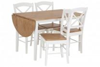 Matbord Heleneholm med 4-6 stolar. Vitt klaffbord med bordskiva i ekfanér. Storlek bord: 75x120-156 cm.