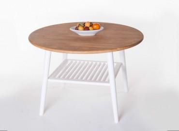 Soffbord Skagen Runt i vitt trä. Ovalt högkvalitativt vardagsrumsbord. Storlek: 80x52 cm.