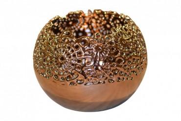 Lykta Edstuga Koppar. Rund lykta av keramik i kopparfärg. Storlek: 23 cm