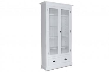 Bokskåp från serien Kovik. Lantligt vitt vitrinskåp med två inglasade dörrar, tidlös förvaring i Shabby Chic! Storlek: 109x39 cm.