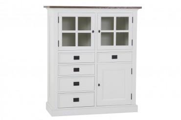 Skåp från serien Gute. Stilrent vitt vitrinskåp med två dörrar. Storlek: 121x48 cm.