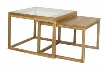 Soffbord Samuel i massiv oljad ek. Vardagsrumsbord i två delar. Storlek: 70x70x50 cm.