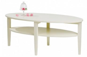 Soffbord Nevada i vitt trä. Ovalt högkvalitativt vardagsrumsbord. Storlek: 120x60 cm.