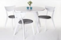 Matgrupp Västergården, vitt matbord med 4 tygklädda stolar. Storlek bord: Ø110 cm