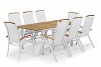 Matgrupp Hagfors i vit aluminium och teak. Utebord med inbyggd iläggsskiva och 4-6 stolar. Mått bord: 96x150/200 cm.