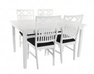 Vit matgrupp med 4 stolar. Köp till insticksklaffar och upp till 6 extra stolar