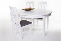 Matgrupp Idaho. Bord 150(+50) cm + 4 stolar. Matgrupp i vitlackerat. Köp till 2-pack extra stolar!