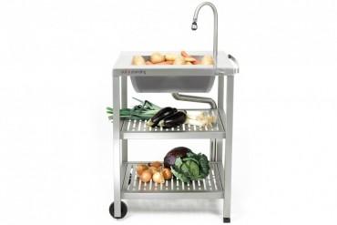 Outstanding utekök Water, exklusivt utomhuskök i rostfritt stål med vattenkran och vask.