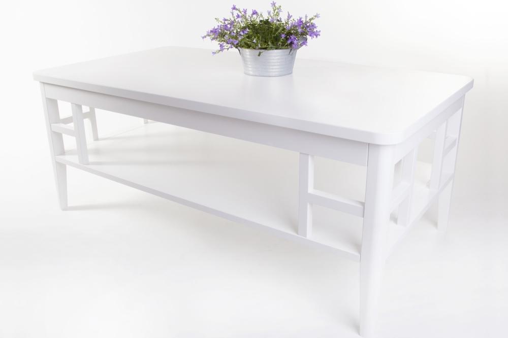 Soffbord Paris i vitlackerat trä Vitt fyrkantigt vardagsrumsbord i shabby chic Storlek 130×70 cm