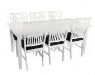 Vit matgrupp med 6 stolar. Köp till insticksklaffar och upp till 6 extra stolar