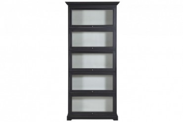 Bokskåp från serien Ljugarn. Vackert svart vitrinskåp som andas New England, praktiskt utbyggbar! Storlek: 96x35 cm.
