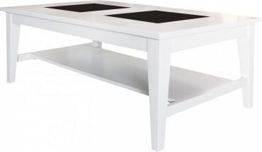 Soffbord Freja i vitlack, vitt vardagsrumsbord med två st granitskivor. Storlek: 140x80 cm.