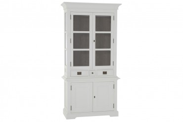 Vitrinskåp från serien Gute. Stilrent vitt vitrinskåp med två dörrar. Storlek: 104x43 cm.