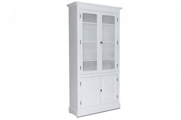 Vitrinskåp från serien Kovik. Lantligt vitt vitrinskåp med två trädörrar, tidlös förvaring i Shabby Chic! Storlek: 109x39 cm.