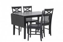 Matbord Idala med 4-6 stolar. Svart klaffbord med bordskiva. Storlek bord: 75x120-155 cm.