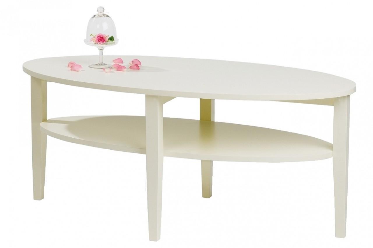 Soffbord Nevada i vitt trä Ovalt högkvalitativt vardagsrumsbord Storlek 120×60 cm