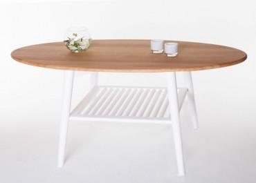 Soffbord Skagen ovalt i vitt trä. Ovalt högkvalitativt vardagsrumsbord. Storlek: 120x60 cm.