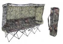 Hopfällbar 4-sitsmöbel med bärväska i camouflage, mått: 242x58x152 cm. Fäll upp eller ta ner tak, sida eller rygg efter väder och vind!