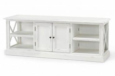 Mediabänk från serien Klinte. Lantlig vit tv-bänk i Shabby Chic med bra förvaring! Storlek: 164x48 cm.
