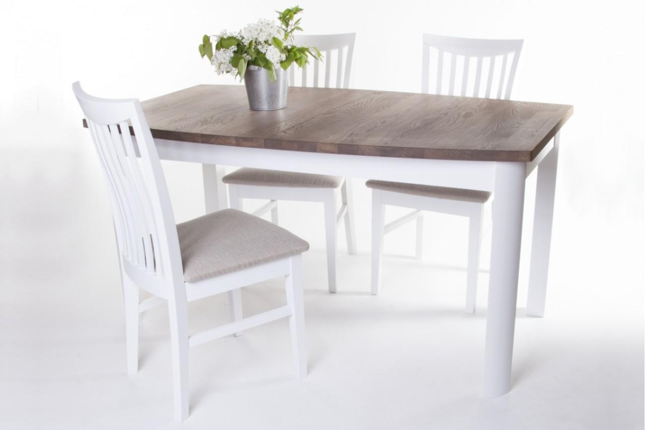 Matgrupp Lammlocken Vitt Matbord Med Iläggsskiva + 4 Stolar Köksbord Med Antikbehandlad
