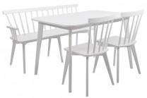 Matgrupp Linköping, vitt matbord med pinnsoffa och 2 pinnstolar. Vacker matsalsmöbel med kökssoffa! Mått bord: 120x80 cm, H: 75 cm.