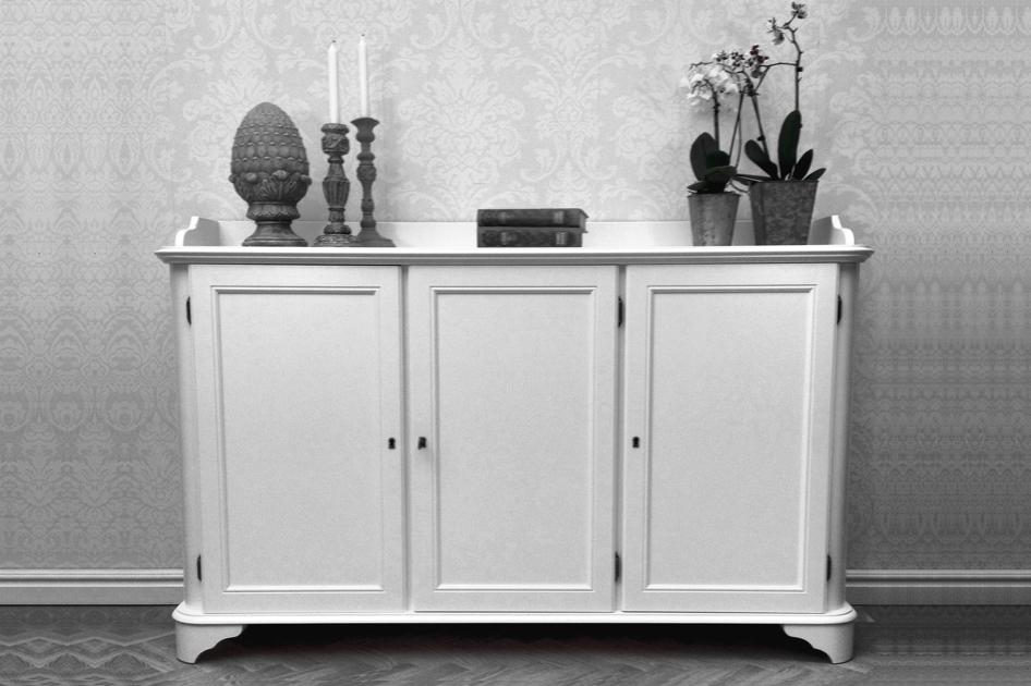Skänk Stella i vitt trä från serien Solgården Elegant vit buffé i klassisk svensk design