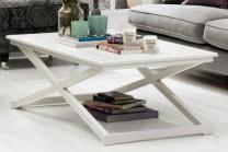 Soffbord från serien Fide. Vitt vardagsrumsbord med serveringsbricka som andas New England. Storlek: 120x70 cm.