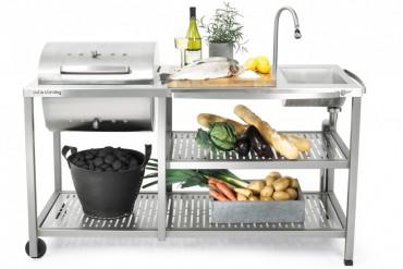 Outstanding utekök Exclusive Kolgrill, exklusiv utomhuskök i rostfritt stål med kolgrill, vattenkran och vask.