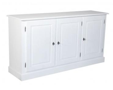 Skänk från serien Kovik. Lantlig vit buffé med tre trädörrar, tidlös förvaring i New England-stil! Storlek: 171x45 cm.