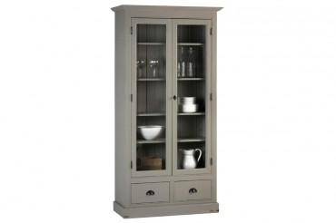 Bokskåp från serien Kovik. Lantligt grått vitrinskåp med två inglasade dörrar, tidlös förvaring i Shabby Chic! Storlek: 109x39 cm.