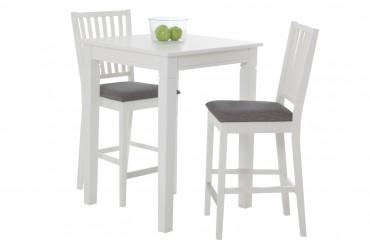 Barbord Simrishamn med 2-4 barstolar. Bargrupp i vacker lantlig stil i klassiskt vitt. Storlek bord: 70x70 cm, höjd 90,8 cm.