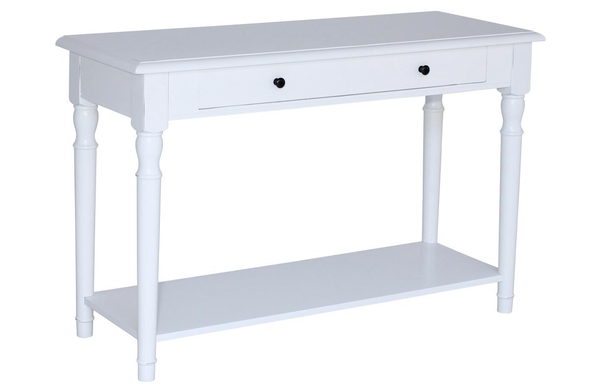 Konsolbord från serien Klinte Lantlig vitt avlastningsbord i Shabby Chic Storlek 120×45 cm