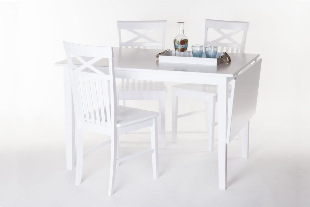 Matbord Solliden med 4 6 stolar Vitt slagbord i vacker lantlig stil Storlek bord 120x80x75