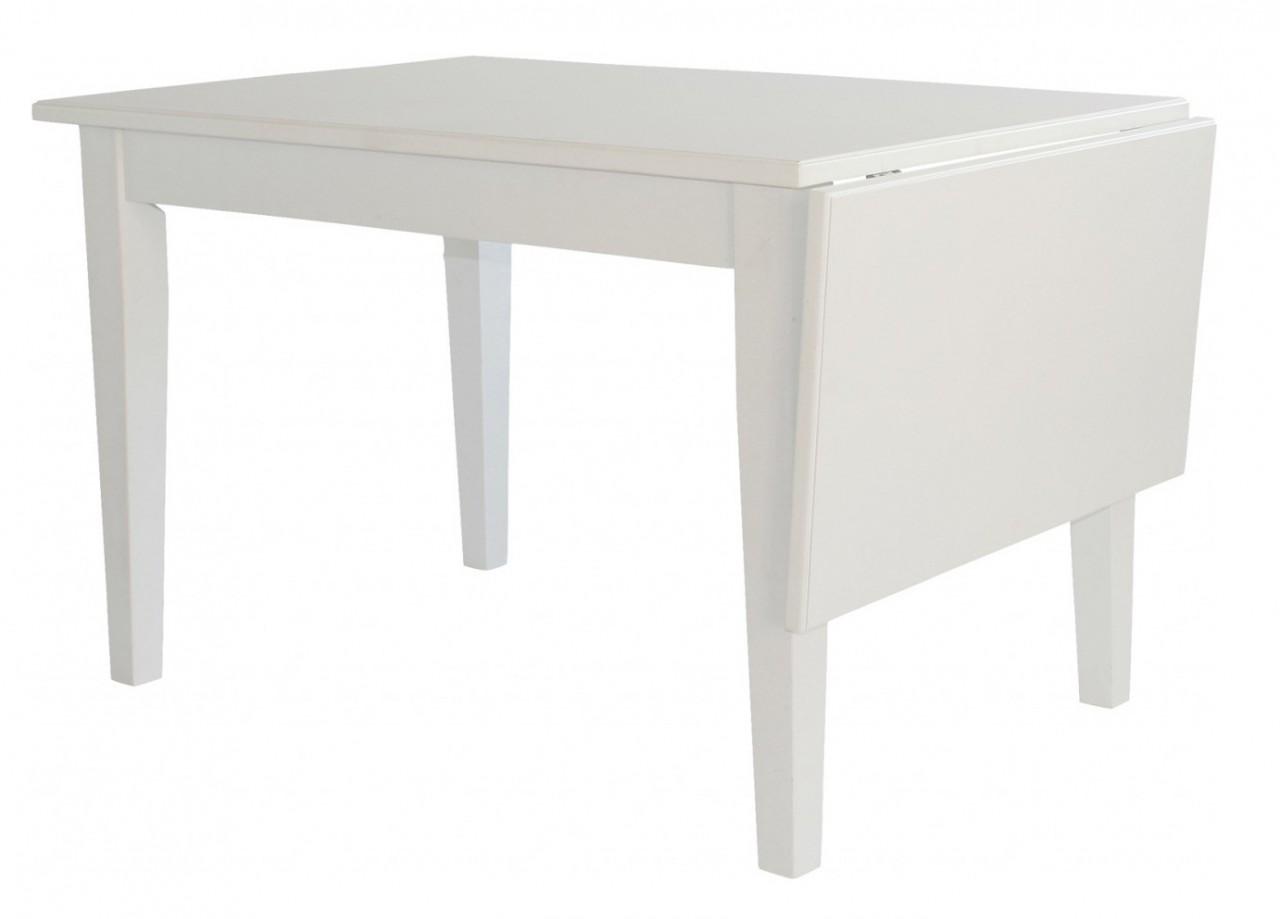 Matbord Smögen I Vitlackat Massivt Trä Hängklaff Ingår Längd 120 165 Cm