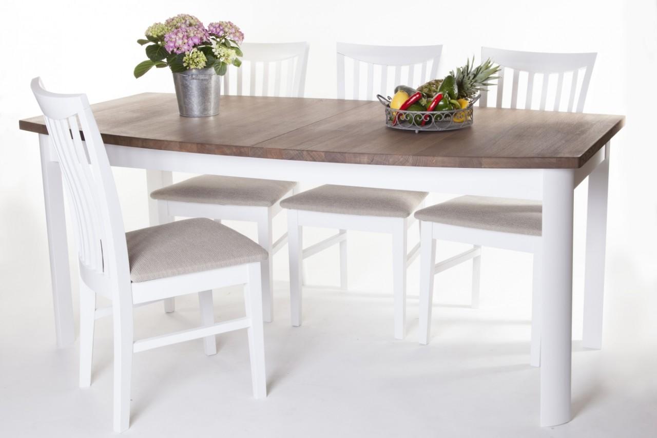 Matgrupp Lammlocken Vitt Matbord Med Iläggsskiva + 6 Stolar Köksbord Med Antikbehandlad