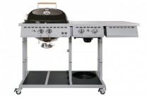 Gasolgrill Venezia 570 G i rostfritt stål med 2 brännare + 2 stekhus-brännare. Rostfri grill med stor grillyta och rejäla sidobord av granit!