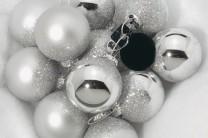 Julgranskulor silver glitter