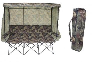 Hopfällbar 3-sitsmöbel med bärväska i camouflage, mått 194x58x152 cm. Fäll upp eller ta ner tak, sida eller rygg efter väder och vind!