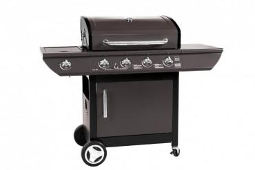 Gasolgrill Future 4 i rostfritt stål med 4 brännare. Rostfri grill med stor grillyta och rejäla sidobord!