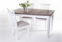 Matgrupp Lammlocken. Vitt matbord med iläggsskiva + 4 stolar. Köksbord med antikbehandlad ekskiva. Storlek bord: 90x150/200 cm.