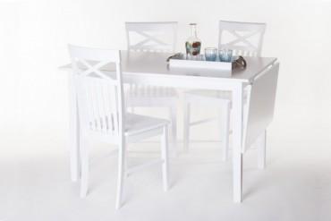 Matbord Solliden med 4-6 stolar. Vitt slagbord i vacker lantlig stil. Storlek bord: 120x80x75