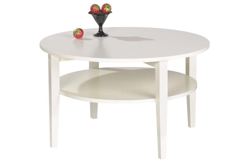 Soffbord Nevada, vitlackerat högkvalitativt soffbord med diametern 80 cm