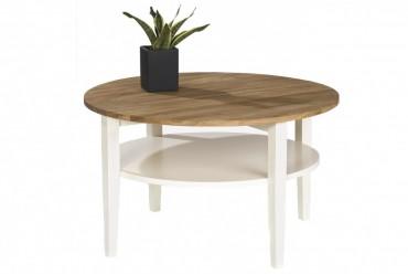 Soffbord Montana i massiv oljad ek och vitt trä. Runt högkvalitativt vardagsrumsbord. Storlek: 80 cm i diameter.