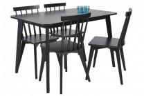 Matgrupp Linköping, svart matbord med 4 pinnstolar. Vacker svartlackad matsalsmöbel! Mått bord: 120x80 cm, H: 75 cm.