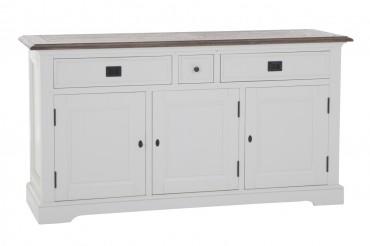 Skänk från serien Gute. Stilren buffé i vit och ek med tre dörrar. Storlek: 160x48 cm.